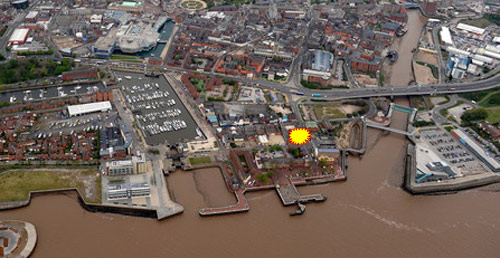 Aerial view of Hull today; yellow star shows the former church site