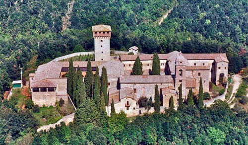 Aerial view of the eremo (hermitage) in the pine forests of Lecceto