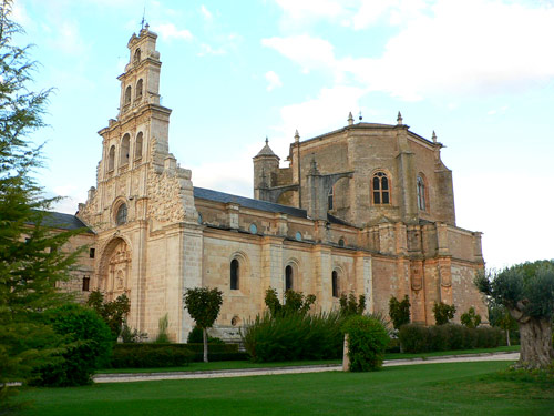 Monastery church at La Vid, with its tall facade (at left)