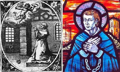 Two depictions of St John Stone, English Augustinian martyr