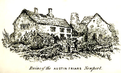 The ruins of Austin Friars at Newport in Wales