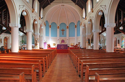 The spacious interior of St Augustine's Church, Hammersmith