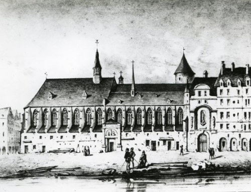 A later drawing of the same Augustinian studium generale beside the Siene