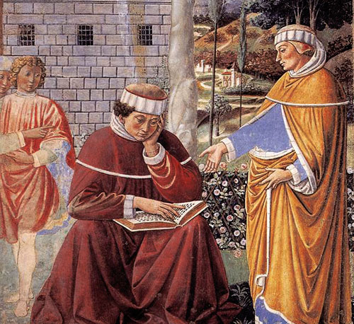 Alypius (at right) assists Augustine's conversion in the garden at Milan