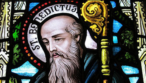 "St Benedict - a Latin word meaning ""blessed"""