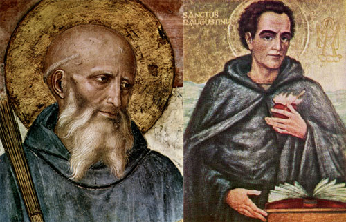 (Left) St Bemedict born about 480 -   (Right) St Augustine died 430