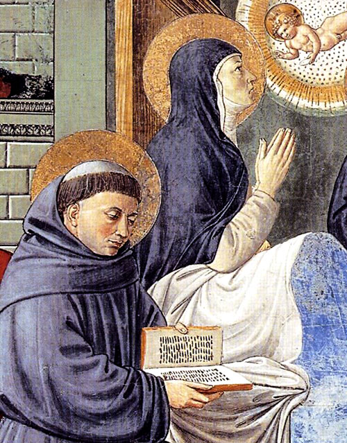 Augustine and Monica in fresco by Gozzoli at San Gimignano in Italy.