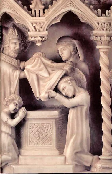 Augustine's baptism, carved on his marble tomb, Pavia