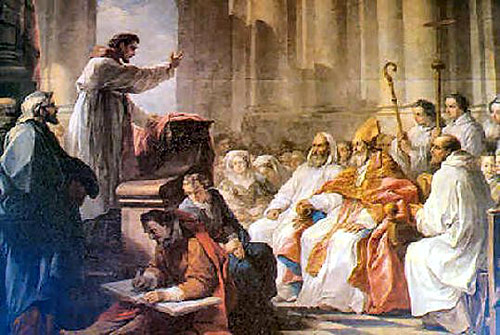 Augustine preaches before Valerius. Oil painting by Carle van Loo, 1755.